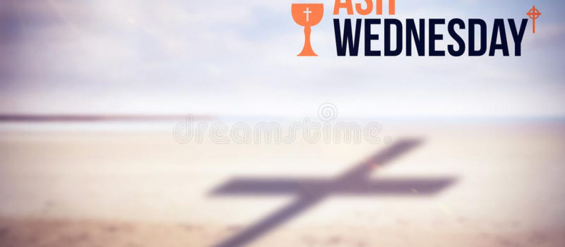 composite-image-ash-wednesday-text-against-white-background-scenic-view-shore-beach-89698363